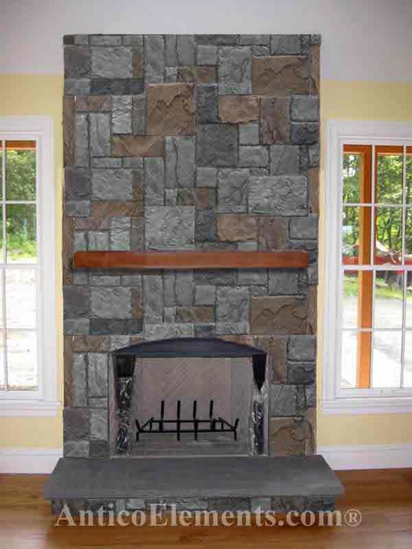 Fireplace Design gray stone fireplace : Faux Stone Fireplace