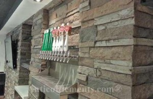 Reusable faux stone panels for a bar