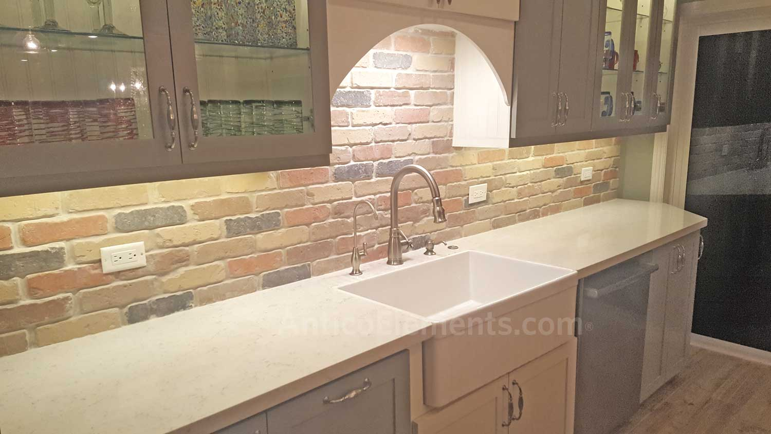 The Completed Job. Brick Backsplash.