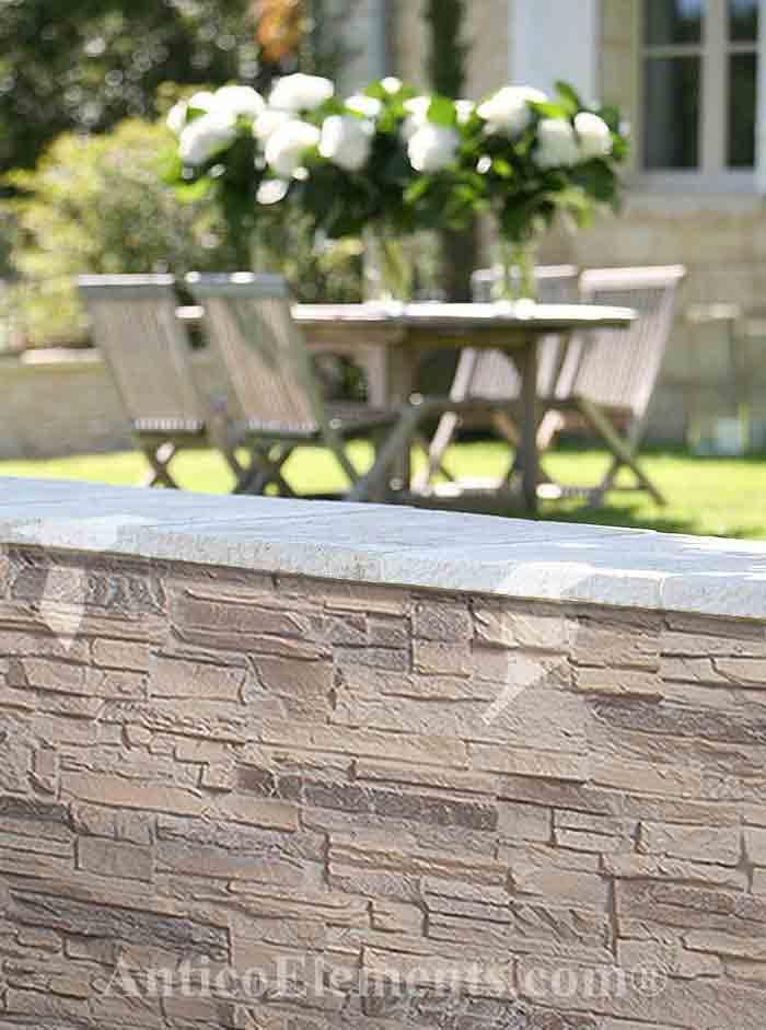Almond stone wall