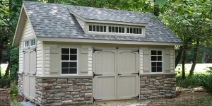 Classic Shed with Faux Stone