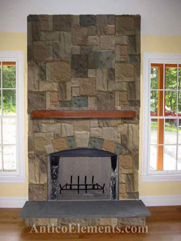 Faux stone fireplace sand color castello solutioingenieria Choice Image