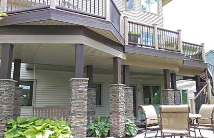 A great installation of stone pillars for decks