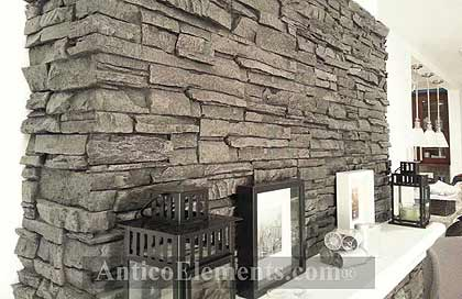 Modern stone veneer panels for fireplaces