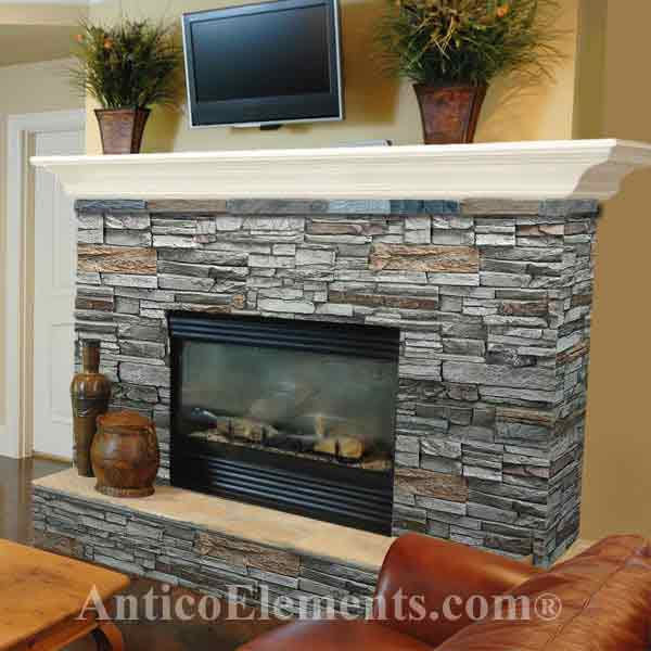 Faux stone fireplace for Fireplace half stone