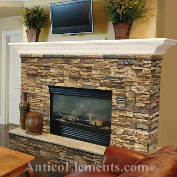 Example of faux stone fireplace.