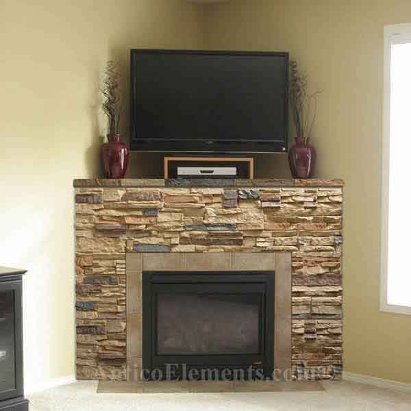 Fireplace covered with panels and not real stone