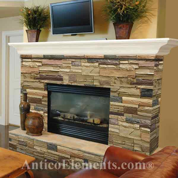 Gorgeous remodeled faux fireplace stone