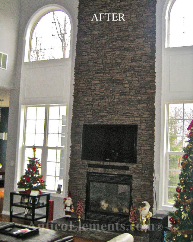 Fireplace with faux ledgestone panels