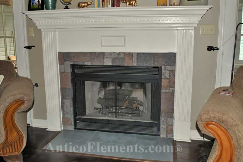 Fireplace faux stone project with Antico Elements' panels