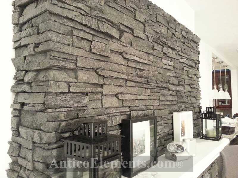 Fireplace With Faux Stone Panels Refacing