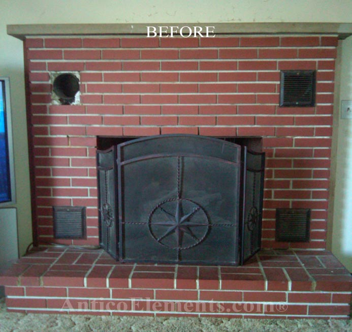 Faux stone fireplace before faux stone panels solutioingenieria