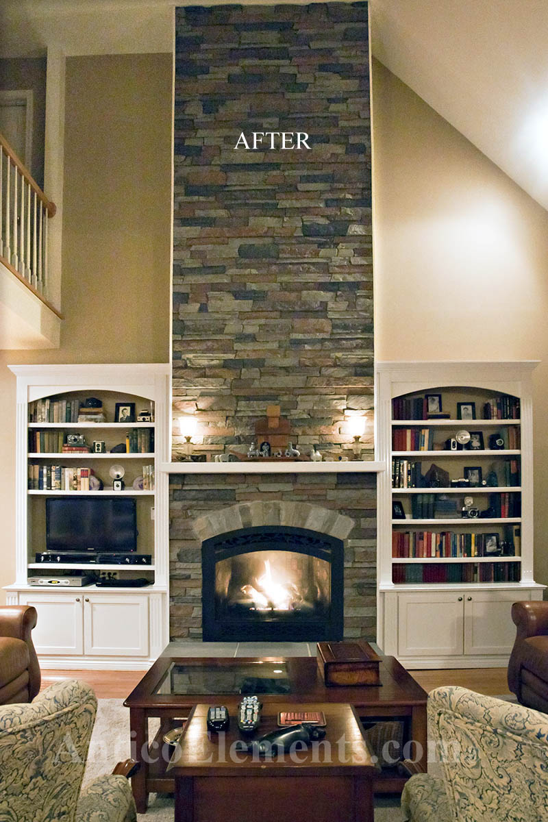 Fireplace with comiso stone