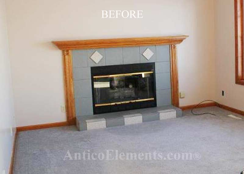 Fireplace before faux stone installed around it