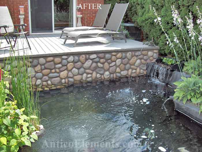 Pond With Faux River Rock Siding