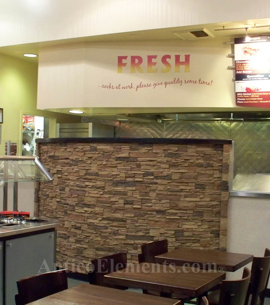 Commercial use of faux stacked stone sheets