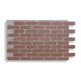 "Antico Faux Reclaimed Brick 28"" - Red - Front - Light Grout"