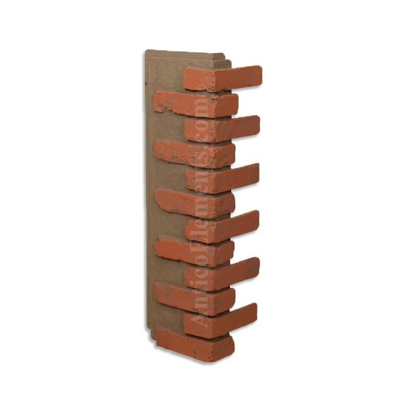 Antico elements faux brick veneer corner red for Glue on brick veneer