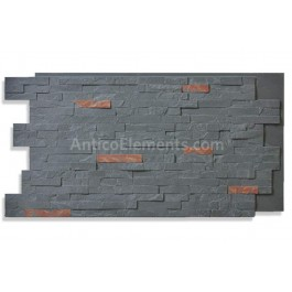 Faux Stacked Slate Panel - Midnight - Front
