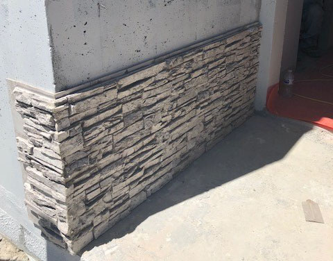 Faux Stone Panels Installed On Concrete