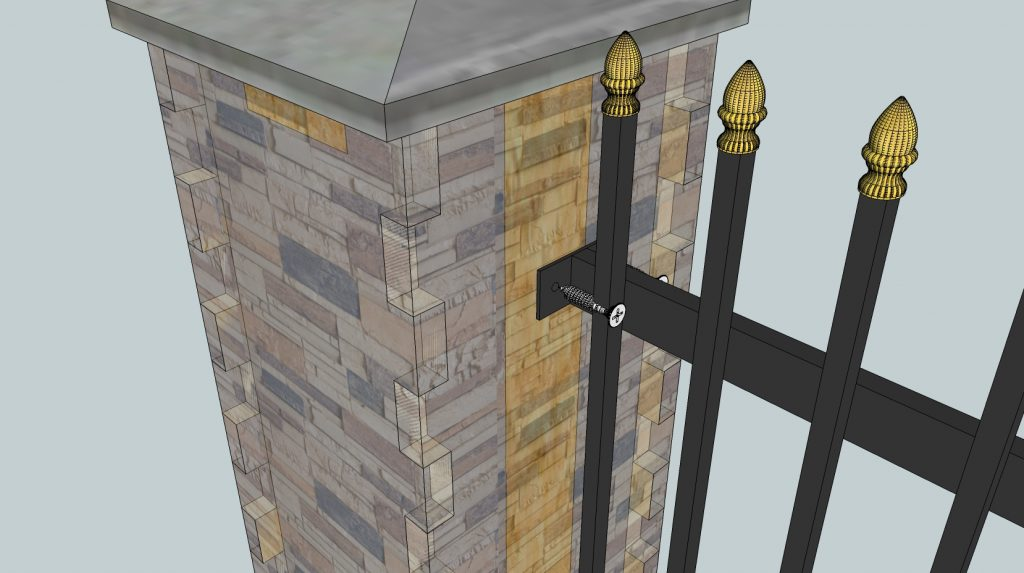 Install the railing over the post wrap.