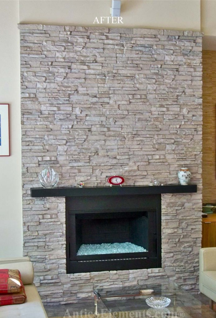 A great looking project made with faux stone wall paneling