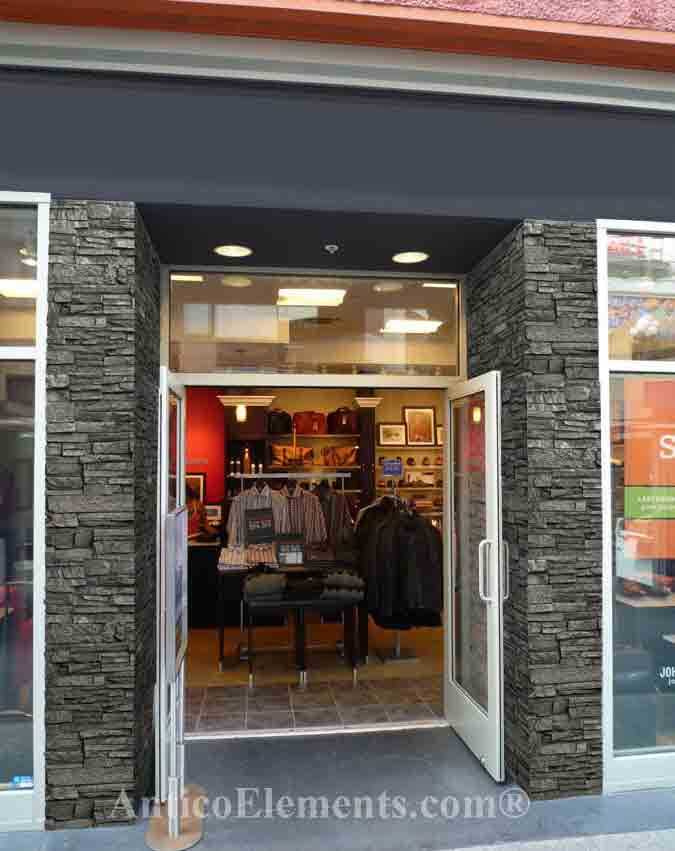 Storefront with charcoal stone
