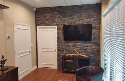 stone paneling used in an office setting