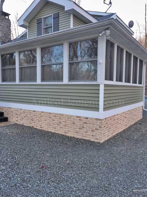 "Use of brick paneling 28"" on mobile home skirting"