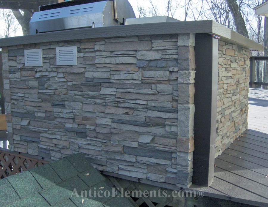 BBQ with faux stacked stone panels