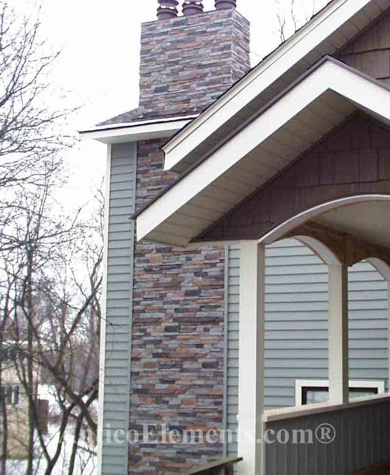 Before and after faux stone siding sheets