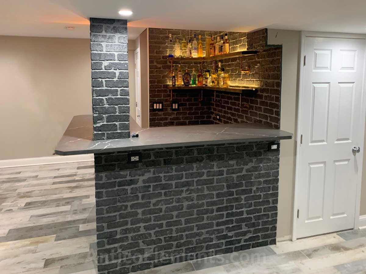 Basement bar with brick panels - View 1