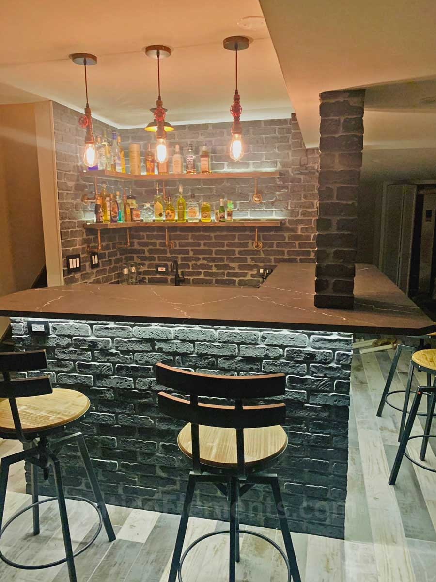 Basement bar with brick panels - View 2