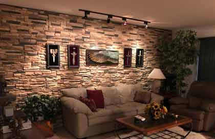 A Man-cave with faux stone panels in Cappuccino
