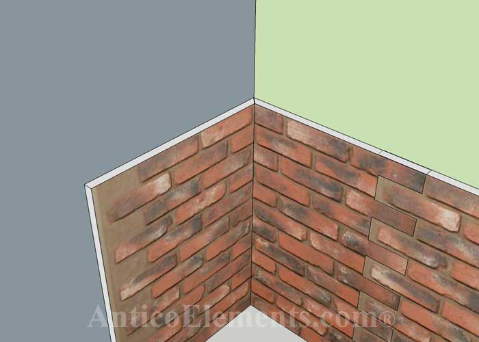 Continue installing brick panels on the next wall
